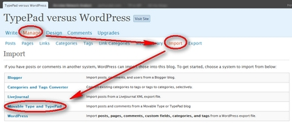 Importing into WordPress