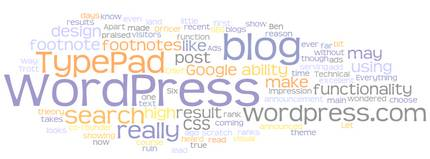 Wordle - TypePad versus WordPress